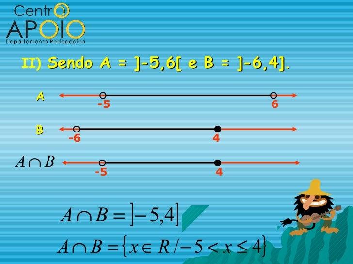 II) Sendo A = ]-5,6[ e B = ]-6,4].  A             -5                         6  B        -6                   4A∩ B       ...