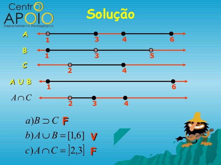 Solução  A        1            3   4       6  B        1            3       5  C              2          4A U B        1  ...