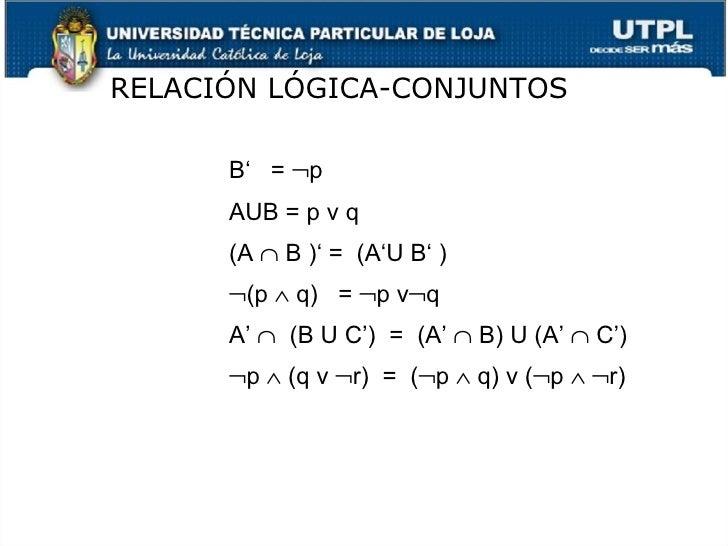 RELACI ÓN LÓGICA-CONJUNTOS <ul><ul><ul><li>B'  =   p  </li></ul></ul></ul><ul><ul><ul><li>AUB = p v q </li></ul></ul></ul...