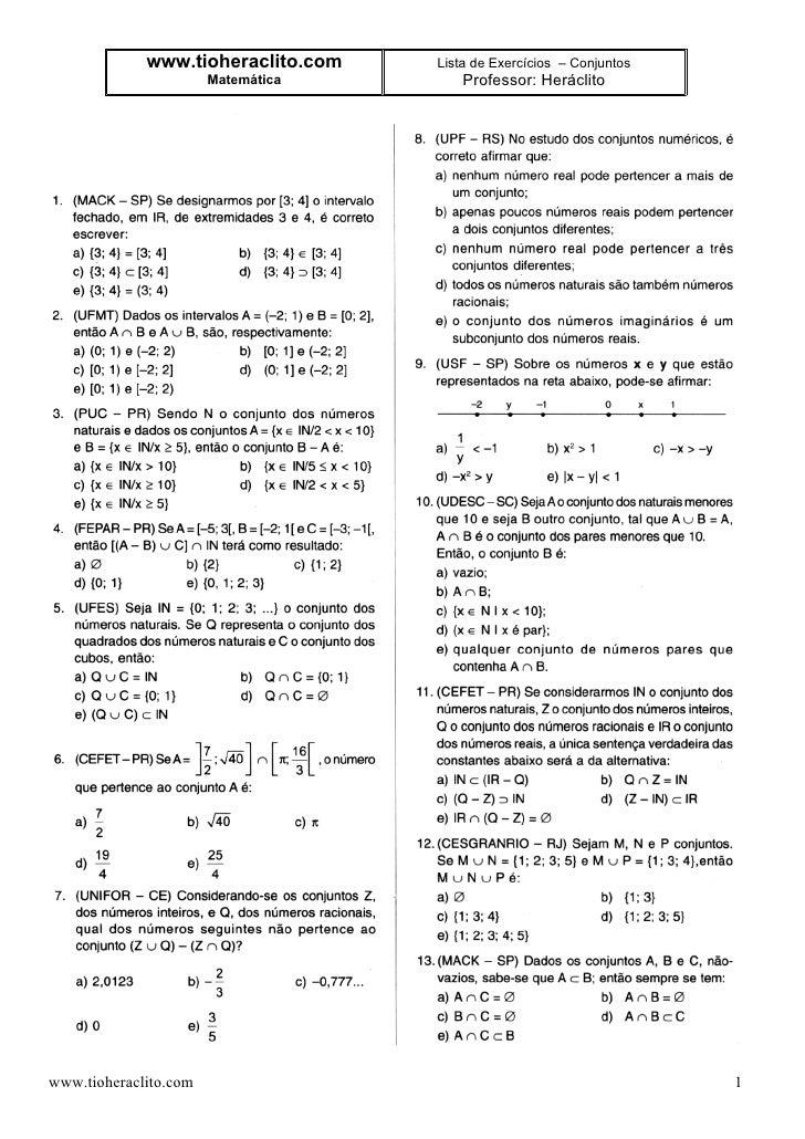 www.tioheraclito.com   Lista de Exercícios – Conjuntos                        Matemática       Professor: Heráclito     ww...