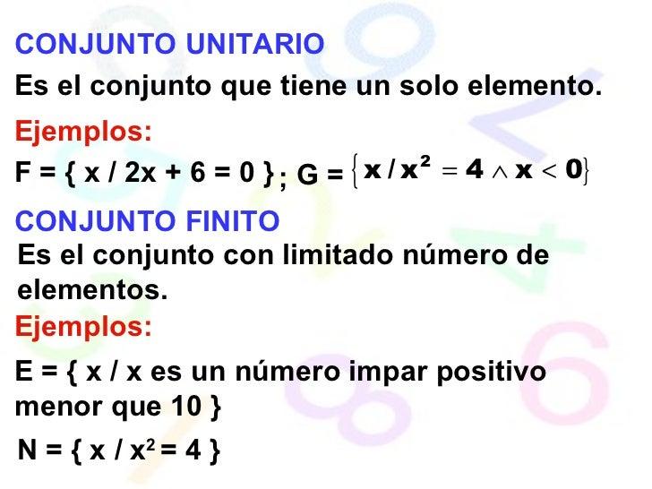 CONJUNTO UNITARIO Es el conjunto que tiene un solo elemento. Ejemplos: F = { x / 2x + 6 = 0 } G = CONJUNTO FINITO Es el co...