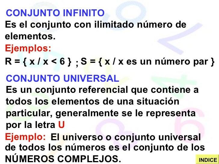 CONJUNTO INFINITO Es el conjunto con ilimitado número de elementos. Ejemplos: R = { x / x < 6 } S = { x / x es un número p...