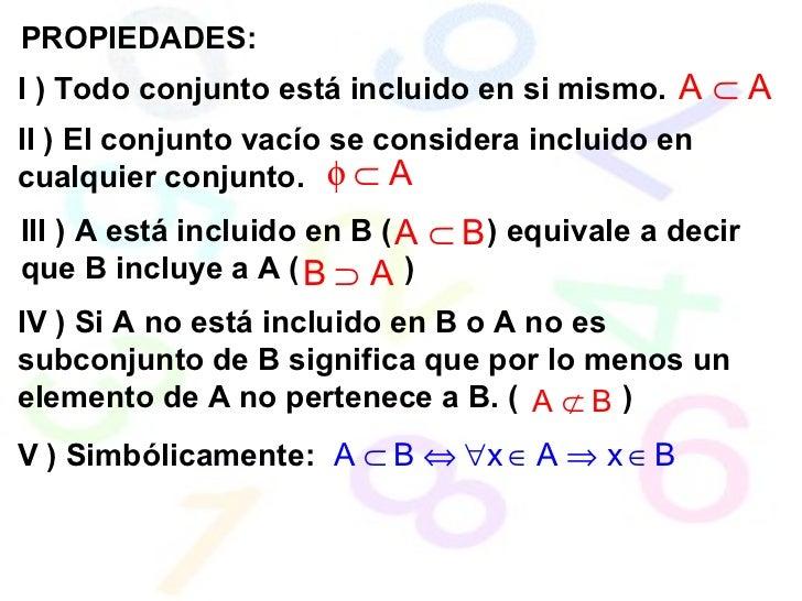 PROPIEDADES: I ) Todo conjunto está incluido en si mismo.  II ) El conjunto vacío se considera incluido en cualquier conju...