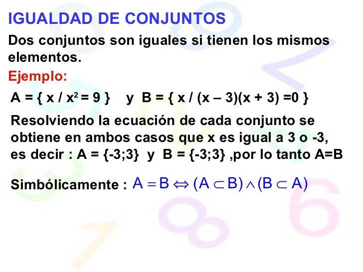 IGUALDAD DE CONJUNTOS Dos conjuntos son iguales si tienen los mismos elementos. Ejemplo: A = { x / x 2  = 9 }  y  B = { x ...