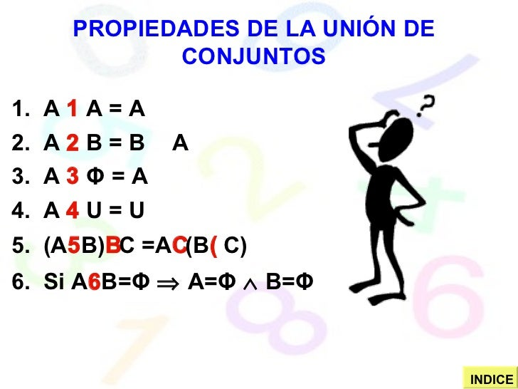 PROPIEDADES DE LA UNIÓN DE CONJUNTOS 1.  A    A = A 2.  A    B = B    A 3.  A     Φ   = A 4.  A    U = U 5.  (A  B) ...