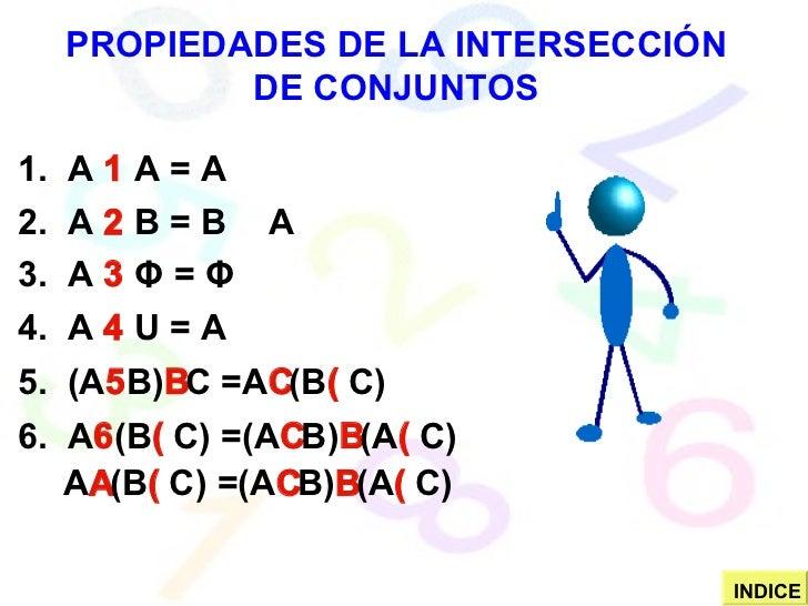 PROPIEDADES DE LA INTERSECCIÓN DE CONJUNTOS 1.  A    A = A 2.  A    B = B    A 3.  A     Φ   =  Φ 4.  A    U = A 5.  ...