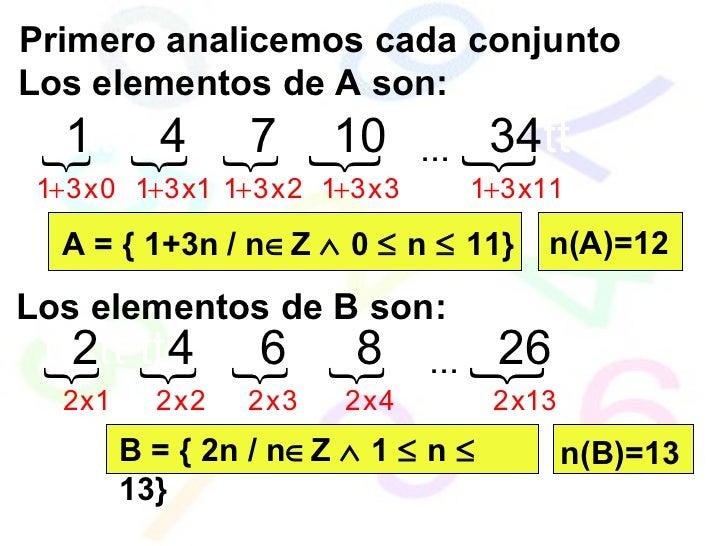 Los elementos de A son: Primero analicemos cada conjunto A = { 1+3n / n  Z    0    n    11} Los elementos de B son: B ...