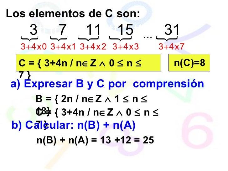Los elementos de C son: C = { 3+4n / n  Z    0    n    7 } a) Expresar B y C por  comprensión B = { 2n / n  Z    1  ...