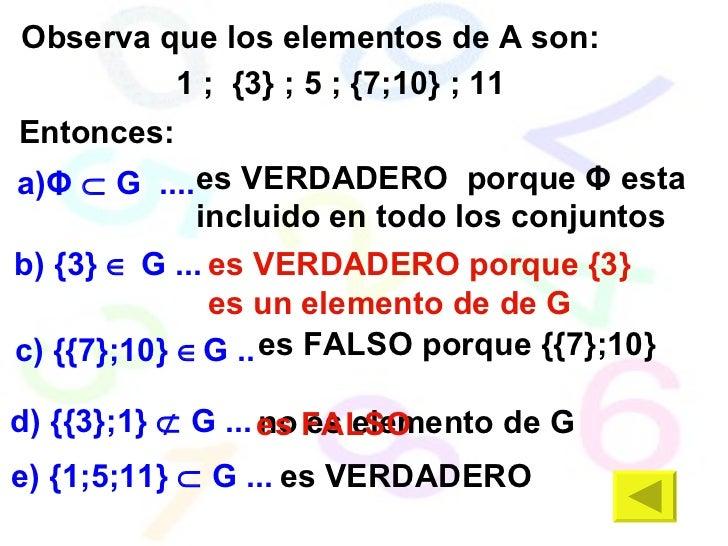Observa que los elementos de A son: 1 ;  {3} ; 5 ; {7;10} ; 11 es   VERDADERO Entonces: es VERDADERO  porque  Φ  esta incl...