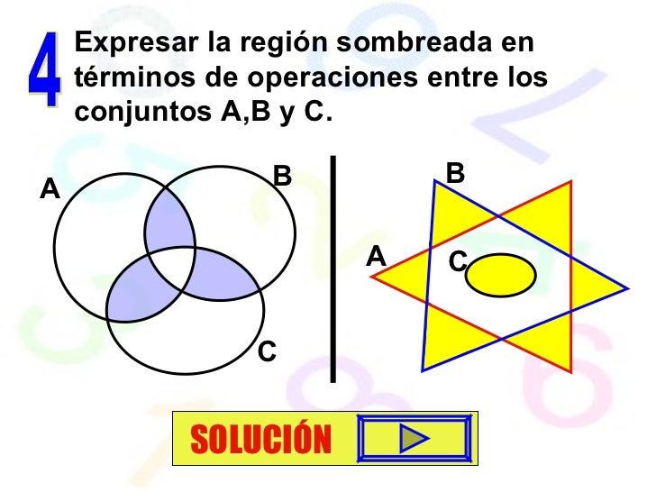 4 Expresar la región sombreada en términos de operaciones entre los conjuntos A,B y C. SOLUCIÓN A B C A B C