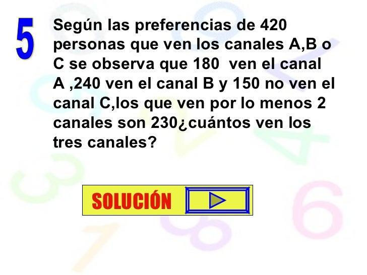 Según las preferencias de 420 personas que ven los canales A,B o C se observa que 180  ven el canal A ,240 ven el canal B ...