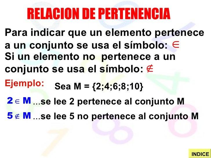 RELACION DE PERTENENCIA Para indicar que un elemento pertenece a un conjunto se usa el símbolo: Si un elemento no  pertene...