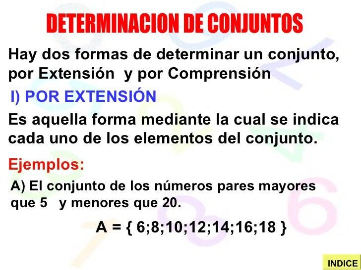 DETERMINACION DE CONJUNTOS I) POR EXTENSIÓN Hay dos formas de determinar un conjunto, por Extensión  y por Comprensión Es ...