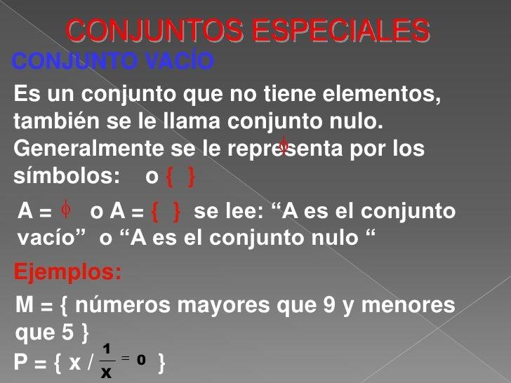 CONJUNTOS ESPECIALES<br />CONJUNTO VACÍO<br />Es un conjunto que no tiene elementos, también se le llama conjunto nulo. Ge...