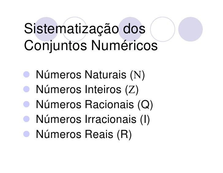 Conjuntos NuméRicos Slide 2