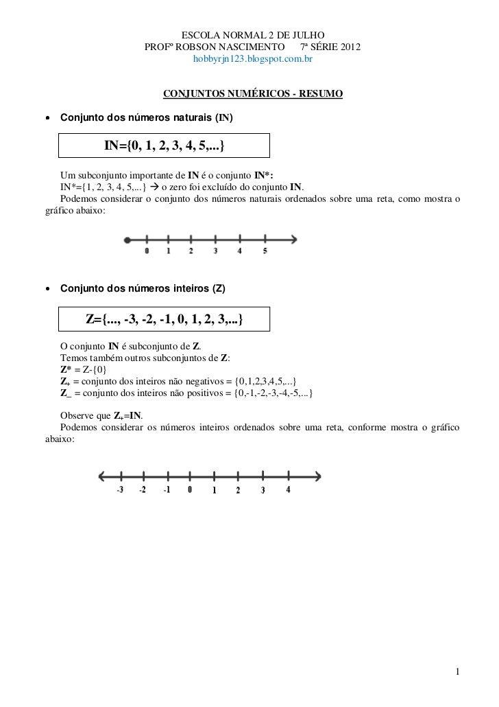 ESCOLA NORMAL 2 DE JULHO                        PROFº ROBSON NASCIMENTO          7ª SÉRIE 2012                            ...