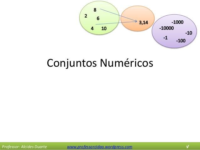 Conjuntos Numéricos Professor: Alcides Duarte www.professorcidao.wordpress.com √