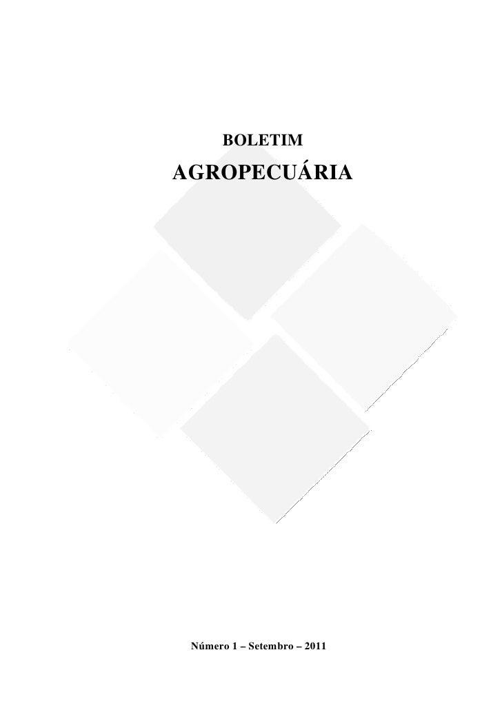 BOLETIM    AGROPECUÁRIA                                 Número 1 – ...