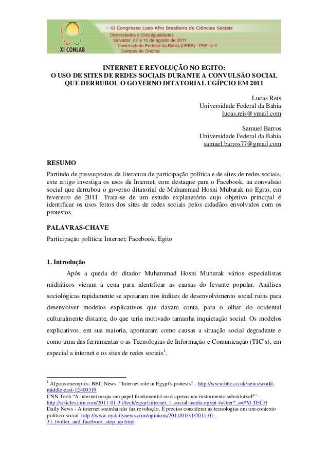 INTERNET E REVOLUÇÃO NO EGITO: O USO DE SITES DE REDES SOCIAIS DURANTE A CONVULSÃO SOCIAL QUE DERRUBOU O GOVERNO DITATORIA...