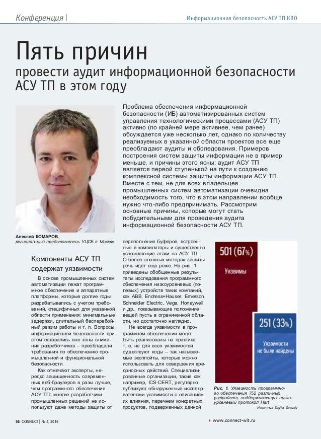 www.connect-wit.ru56 CONNECT | № 4, 2016 Конференция | Информационная безопасность АСУ ТП КВО Пять причин провести аудит и...
