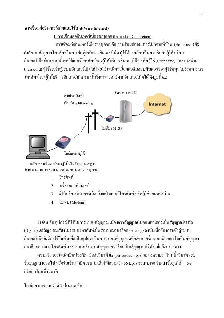 1 การเชื่อมตออินเทอรเน็ตแบบใชสาย (Wire Internet)                   1. การเชื่อมตออินเทอรเน็ตรายบุคคล (Individual Conn...