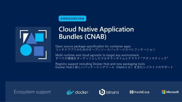 Cloud Native Application Bundle(CNAB)で実現したいこと 現状 1. クラウドテクノロジー(主にデプロイメントツール)がたくさんあり、アプリケーションを一つの アーティファクトとしてまとめるのが難しい 2. た...