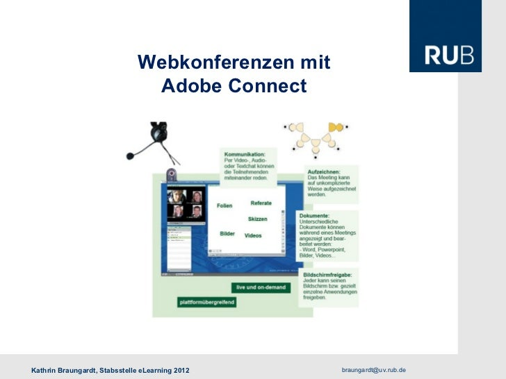 Webkonferenzen mit                               Adobe ConnectKathrin Braungardt, Stabsstelle eLearning 2012     braungard...