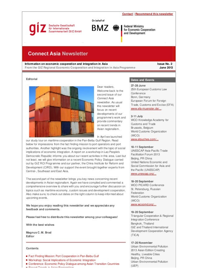 Contact | Recommend this newsletter Information on economic cooperation and integration in Asia From the GIZ Regional Econ...