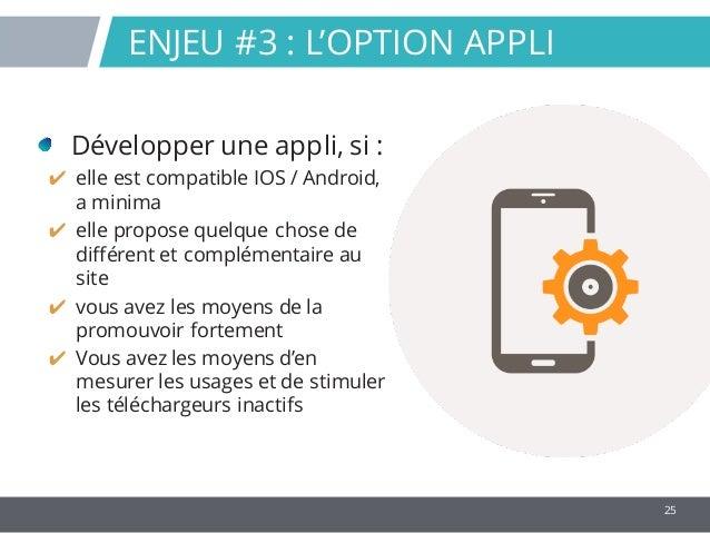 25 Développer une appli, si : ✔ elle est compatible IOS / Android, a minima ✔ elle propose quelque chose de différent et c...