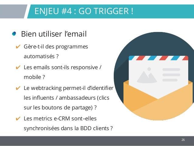 26 Bien utiliser l'email ✔ Gère-t-il des programmes automatisés ? ✔ Les emails sont-ils responsive / mobile ? ✔ Le webtrac...