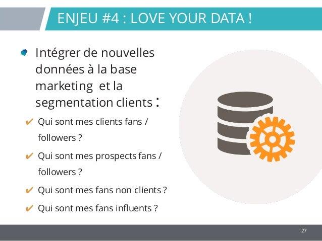 27 Intégrer de nouvelles données à la base marketing et la segmentation clients : ✔ Qui sont mes clients fans / followers ...