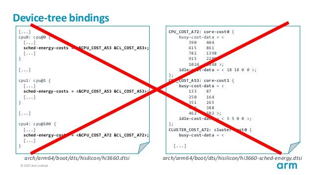 © 2017 Arm Limited42 Device-tree bindings [...] cpu0: cpu@0 { [...] sched-energy-costs = <&CPU_COST_A53 &CL_COST_A53>; [.....