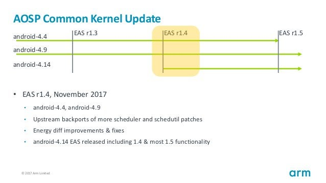 © 2017 Arm Limited5 AOSP Common Kernel Update • EAS r1.4, November 2017 • android-4.4, android-4.9 • Upstream backports of...