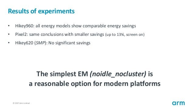 © 2017 Arm Limited78 Results of experiments • Hikey960: all energy models show comparable energy savings • Pixel2: same co...