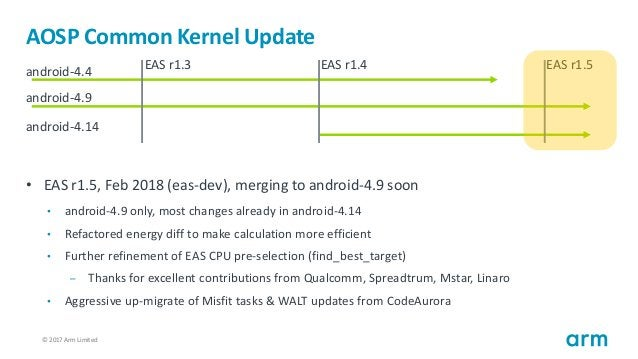 © 2017 Arm Limited8 AOSP Common Kernel Update • EAS r1.5, Feb 2018 (eas-dev), merging to android-4.9 soon • android-4.9 on...