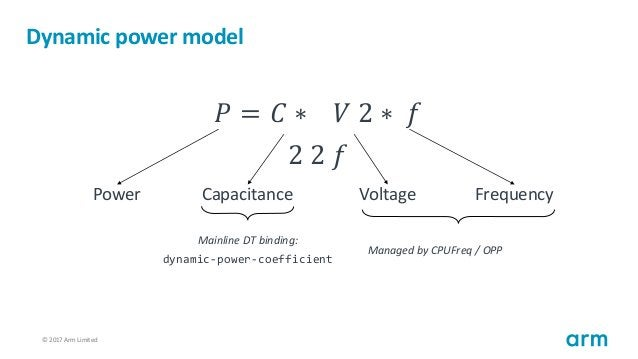 © 2017 Arm Limited87 Dynamic power model 𝑃 = 𝐶 ∗ 𝑉 2 ∗ 𝑓 2 2 𝑓 Power Capacitance Voltage Frequency Mainline DT binding: dy...