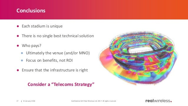 Conclusions ● Each stadium is unique ● There is no single best technical solution ● Who pays? ● Ultimately the venue (and/...