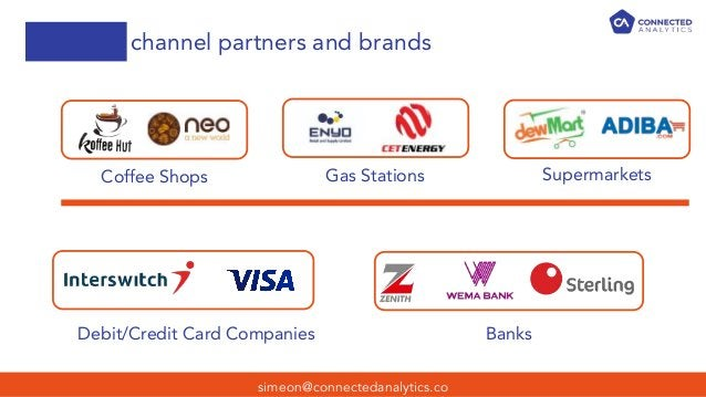 channel partners and brands simeon@connectedanalytics.co Coffee Shops Gas Stations Supermarkets Debit/Credit Card Companie...