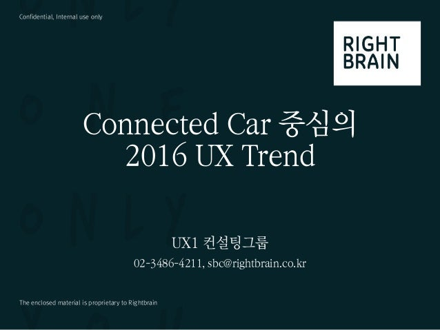 Confidential, Internal use only The enclosed material is proprietary to Rightbrain Connected Car 중심의 2016 UX Trend UX1 컨설팅...