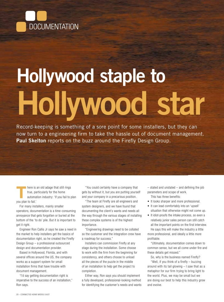 DOCUMENTATION     Hollywood staple to Hollywood star Record-keeping is something of a sore point for some installers, but ...