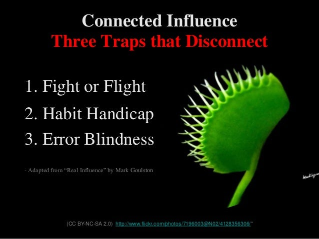 """Three Traps that Disconnect 1. Fight or Flight 2. Habit Handicap 3. Error Blindness - Adapted from """"Real Influence"""" by Mar..."""