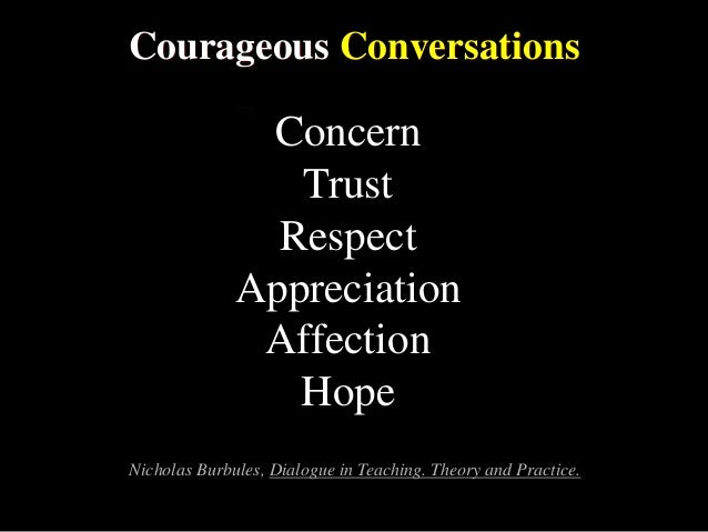 Courageous Conversations Concern Trust Respect Appreciation Affection Hope Nicholas Burbules, Dialogue in Teaching. Theory...