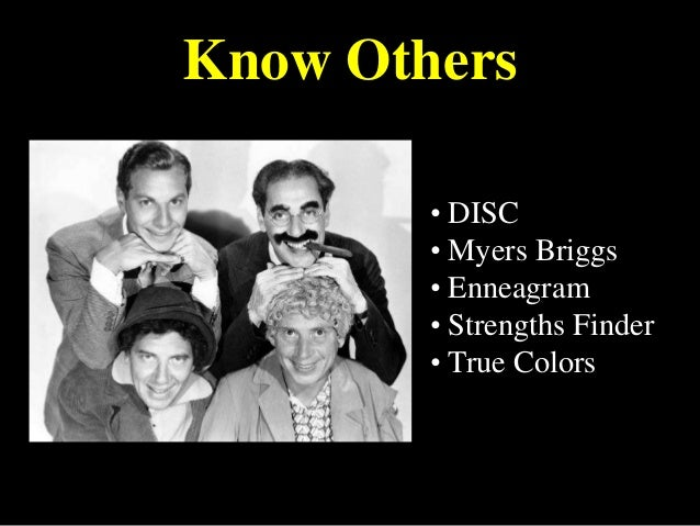 Know Others • DISC • Myers Briggs • Enneagram • Strengths Finder • True Colors