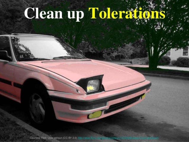 Clean up Tolerations Courtesy Flickr user wetsun (CC BY 2.0) http://www.flickr.com/photos/wetsun/72733049/sizes/z/in/photo...