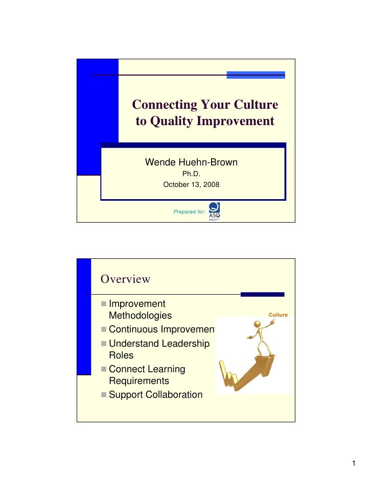 Connecting Your Culture      to Quality Improvement           Wende Huehn-Brown                  Ph.D.             October...
