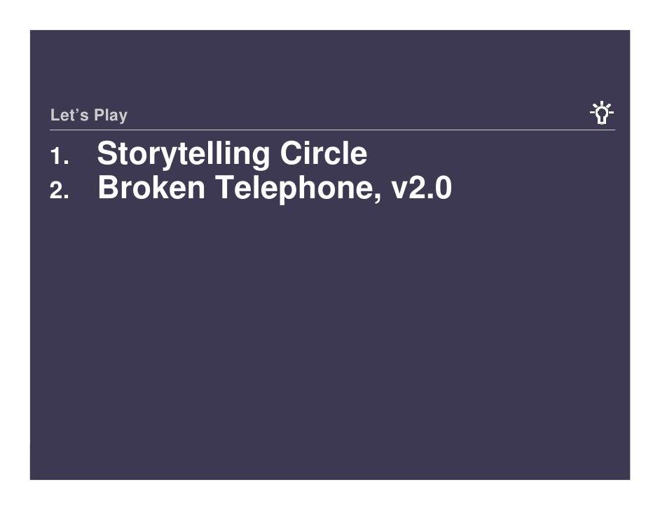 Let's Play       Storytelling Circle 1.      Broken Telephone, v2.0 2.     14