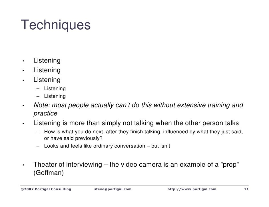Techniques        Listening •       Listening •       Listening •        – Listening        – Listening       Note: most p...