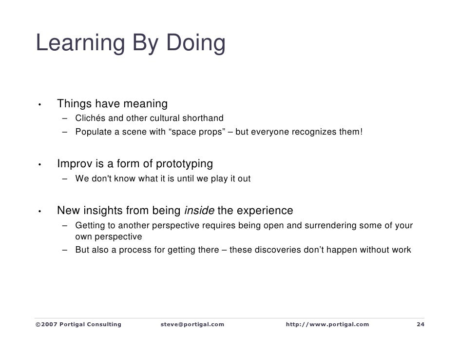 Learning By Doing        Things have meaning •        – Clichés and other cultural shorthand        – Populate a scene wit...