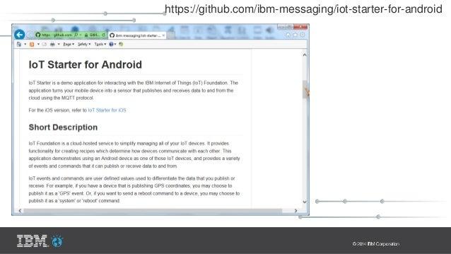 Internet Publish Hosts messages IoT Cloud / MQTT Broker Topic: iot-2/evt/accel/fmt/json Android Visualization On Laptop Sc...