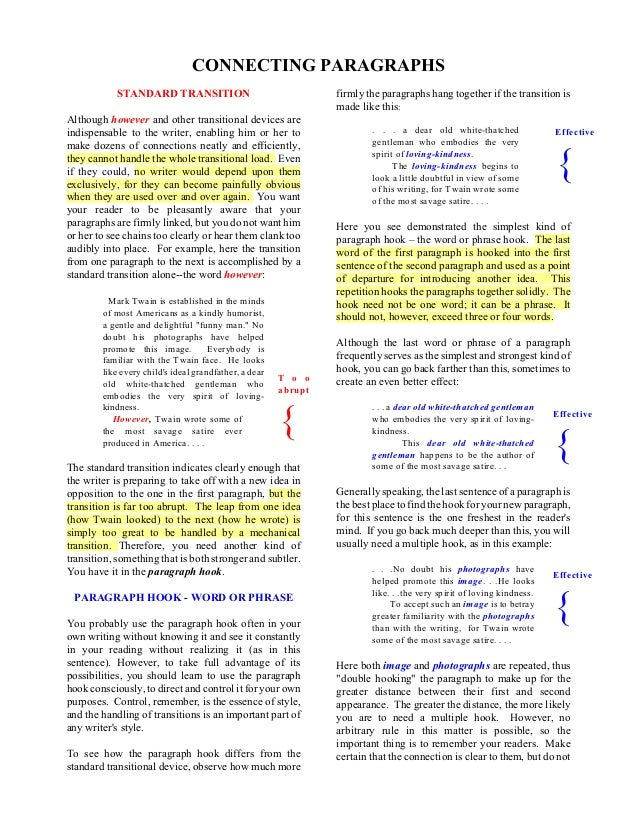 T o o abrupt { Effective { CONNECTING PARAGRAPHS STANDARD TRANSITION Although however and other transitional devices are i...